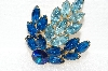 "+MBA #E56-223   ""Vintage Gold Tone Two Shades Of Blue Glass Stone Brooch"""