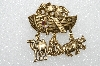 "**MBA #E56-159   ""Older Gold Tone Noah's Ark Pin With Charms"""