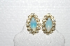"MBA #E56-125   ""Vintage Goldtone Opal Glass & Clear Crystal Rhinestone Earrings"""
