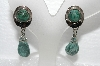 "+MBA #E56-167   ""Vintage Silvertone Green Gemstone Screw Back Earrings"""