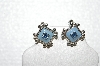"MBA #E56-150   ""Monet Silvertone Blue Enamel & Crystal Rhinestone Small Clip On Earrings"""
