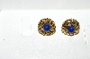 "MBA #E56-134   ""Avon Gold Tone Blue Stone Small Clip On Earrings"""