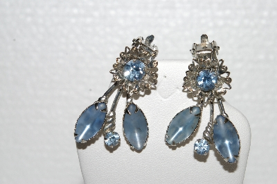 "MBA #E56-138   ""Vintage Silvertone Blue Glass & Rhinestone Fancy Earrings"""