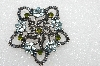 "**MBA #E56-241   ""Older Antiqued Silvertone Blue & Green Crystal Rhinestone Pin"""