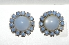 "MBA #E56-110   ""Vintage Silvertone Blue Moon Glass Stone Clip On Earrings"""