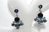 "MBA #E56-099   ""Vintage Silvertone Dark & Light Blue Crystal Rhinestone Screw Back Earrings"""