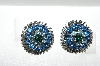"MBA #E56-103   ""Vintage  Silvertone Blue Crystal Rhinestone Clip On Earrings"""