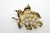 "**MBA #E56-163   ""Vintage Gold Plated Fancy Glass Pearl Leaf Pin"""