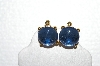 "+MBA #E56-146   ""Vintage Gold Plated Blue Glass Stone Clip On Earrings"""