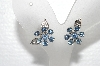 "MBA #E56-177   ""Coro Silvertone Fancy Blue Crystal Rhinestone Flower Earrings"""