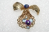 "**MBA #E56-010   ""1940's Bow Brooch With Marguerita Cut Two-Tone Stones"""