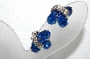 "MBA #E56-142   ""Eisenbery Silvertone Blue & Clear Crystal Rhinestone Clip On Earrings"""