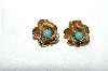 "+MBA #E56-129   ""Vintage Gold Plated Blue Stone Rose Clip On Earrings"""