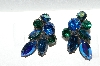 "**MBA #E56-106   ""Regency Silvertone Blue & AB Crystal Rhinestone Clip On Earrings"""