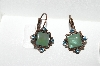 "+MBA #E56-171   ""Vintage Copper Glass & Rhinestone Pierced Earrings"""
