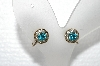 "MBA #E56-182   ""Vintage Gold Tone Blue & Clear Crystal Rhinestone Screw Back Earrings"""