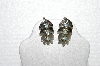 "**MBA #E56-185   ""Coro Silvertone Blue Crystal Rhinestone Screw Back Earrings"""