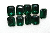 "MBA #S51-292  "" Vintage Lot Of 9 Large Emerald Green Glass Rhinestones"""