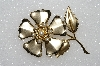 "+MBA #S51-512   ""Vintage Gold Plated Faux Pearl Flower Brooch"""