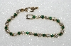 "**MBA #S51-177  ""Gold Plated Green & Clear Crystal Rhinestone Bracelet"""