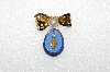 "+MBA #S51-198   ""Vintage Gold Plated Blue Glass Stone Bow Pin"""