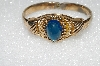 "** MBA #S51-519   ""Gold Plated Blue Glass Stone Bracelet"""