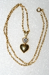 "** MBA S51-210   ""Older Gold Plated Double Heart & Clear Crystal Rhinestone Pendant & Chain"""