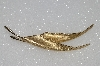 "MBA #S51-539   ""Giovanini Gold Plated Double Leaf Brooch"""