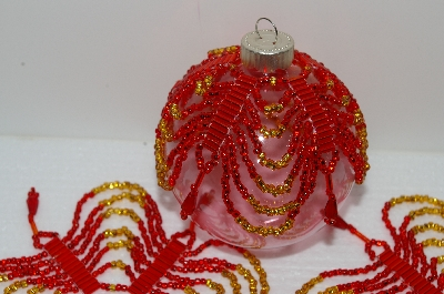 "MBA #S58-049   ""Hand Made Set  Of 5 Beautiful Red & Gold Beaded Ornament Covers"""