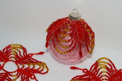 "BA #S58-053   ""Hand Made Set Of 4 Fancy Red & Gold Beaded Ornament Covers"""