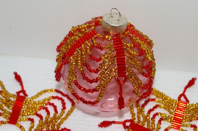 "MBA #S58-045   ""Hand Beaded Fancy Gold & Red  Set Of 5 Christmas Ornament Covers"""