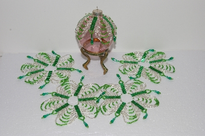"MBA #S58-075   ""Hand Made Set Of 5 Bugle, Seed & Crystal Silver & Green Bead Ornament Covers"""