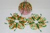 "MBA #S58-063   ""Hand Made Set Of 3 Bugle, Seed & Crystal Gold And Green Bead Ornament Covers"""