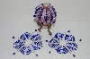 "MBA #S58-085   ""Hand Made Set Of 3 Bugle, Seed & Crystal Dark Blue & Silver Bead Ornament Covers"""
