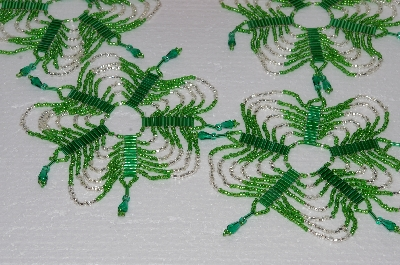 "MBA #S58-067   ""Hand Made Set Of 5 Bugle, Seed & Crystal Green & Silver Bead Ornament Covers"""