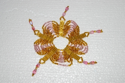 "MBA #S58-013   ""Hand Made Set Of 6 Bugle, Seed & Crystal Gold & Pink Bead Ornament Covers"""