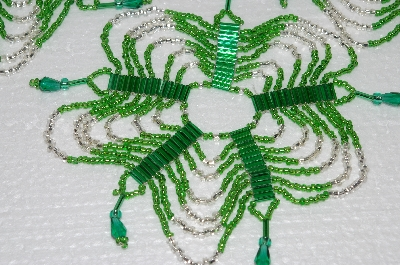 "MBA #S58-072   ""Hand Made Set Of 4 Bugle, Seed & Crystal Green & Silver Bead Ornament Covers"""