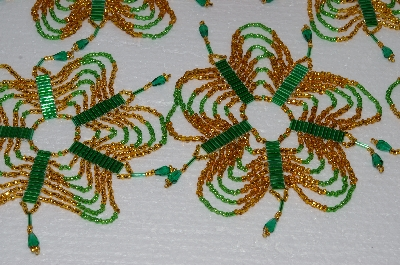 "MBA #S58-058   ""Hand Made Set Of 6 Bugle, Seed & Crystal Gold & Green Bead Ornament Covers"""