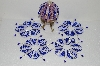 "MBA #S58-081   ""Hand Made Set Of 5 Bugle, Seed & Crystal Blue & Clear Bead Ornament Covers"""