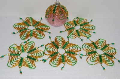 "MBA #S58-062   ""Hand Made Set Of 6, Bugle, Seed & Crystal Bead Ornament Covers"""
