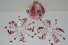 "MBA #S58-028   ""Hand Made Set Of 3, Bugle,Seed & Crystal bead Clear & Red Ornament Covers"""