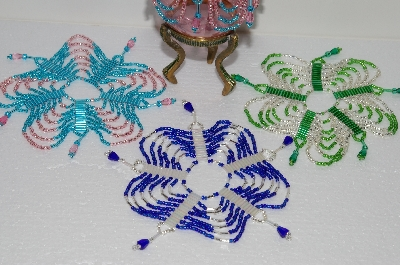 "MBA #S58-094   ""Hand Made Set Of 4 Multi Colored Bugle, Seed & Crystal Bead Ornament Covers"""