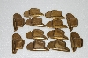 "MBA #S58-136   ""Lot Of 12 Antiqued Gold Tone Metal Cowboy Hats"""