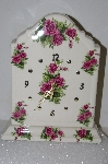 "**MBA #S25-008   ""Pink Rose Ceramic Mantel Clock"""