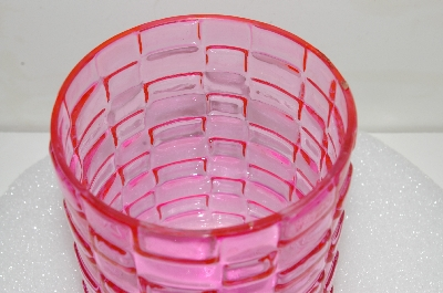 "**MBA #S25-313   ""Fancy Pink Class Candel Holder/Vase"""