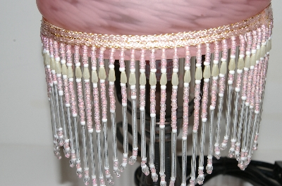 "MBA #S25-034   ""Victorian Style Pink Glass Beaded Lamp"""