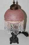 "+MBA #S25-034   ""2003 Victorian Style Pink Glass Beaded Lamp"""