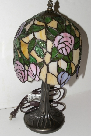 "MBA #S25-019  ""Fancy Stained Glass Rose Lamp"""