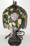 "+MBA #S25-019  ""2003 Fancy Stained Glass Rose Lamp"""