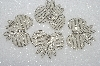 "MBA #S25-118   ""Set Of 4 Silver Hand Beaded Bow Appliques"""